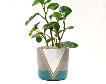 Medium Concrete Cylinder with Teal, White and Gold Geometric Design