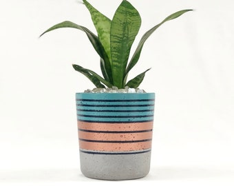 Small Concrete Cylinder Pot with Teal, Blue and Copper Stripes