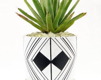 Large Concrete Cylinder White, Black and Gold Geometric Design