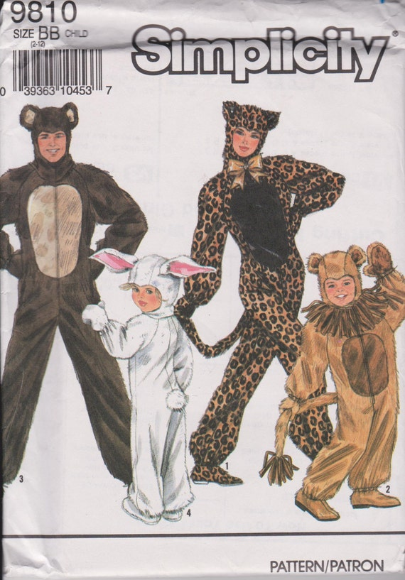 Simplicity 9810 Halloween Costume Sewing Pattern Bear Etsy