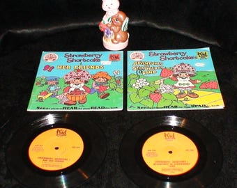 Lot Of 2 Vintage Strawberry Shortcake Story Books And Records! And Ceramic!