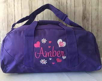 40ec29fa3ce Duffle bag/Personalized Girls Duffel bag/Heart and Flowers embroidered duffel  bag/Flower Girl Bag/Duffel bag Camp, Sleepovers,Travel/