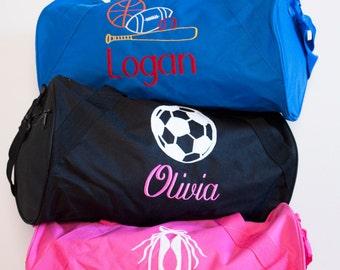 Girls Personalized Duffle bag, Monogrammed Soccer bag-Ballet bag- Custom  Duffle bag- Hot pink, Black Duffle bag b79fd10a4a