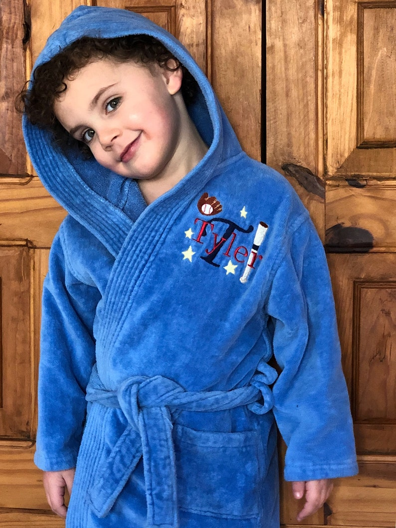 Boys Bathrobe Teen Robe Toddler Robe Hooded Bathrobe Personalized Robe   Hockey-Basketball-Soccer-Sports Bathrobe f3e7b10b8