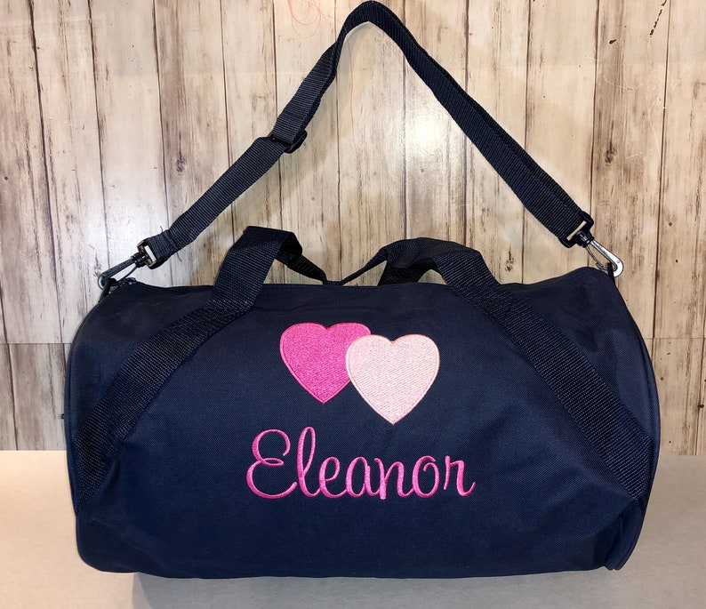 Duffle bag Personalized Girls Duffel Bag Embroidered Hearts  7af540678ed3a