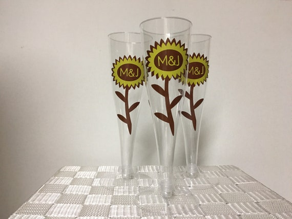 Personalized plastic/disposable Sunflower Wedding Champagne/ wine Flutes-SET OF 25 FLUTES
