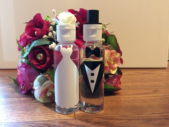 Bride and Groom Bottles Favors set of 25 pairs-FREE SHIPPING!