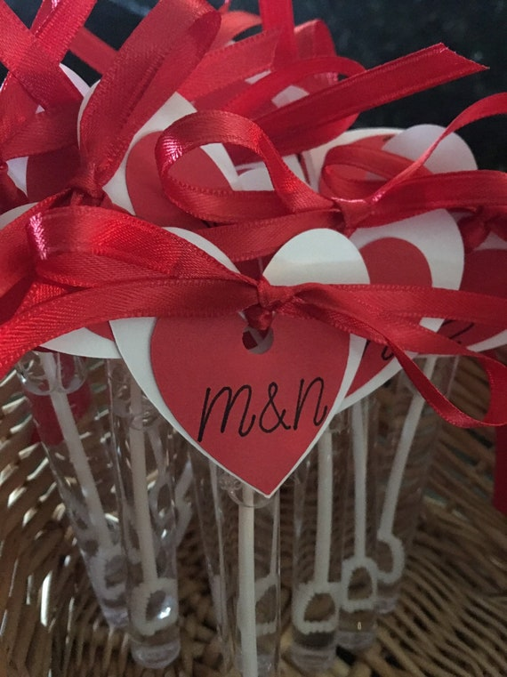 Filled Wedding Bubbles tubes with hearts and tags OR just hearts and tags