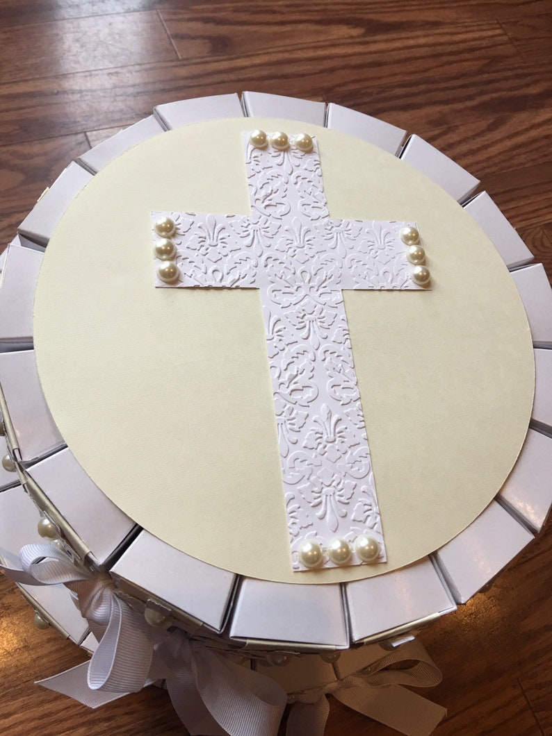 Baptism or Confirmation favor box cake First Holy Communion
