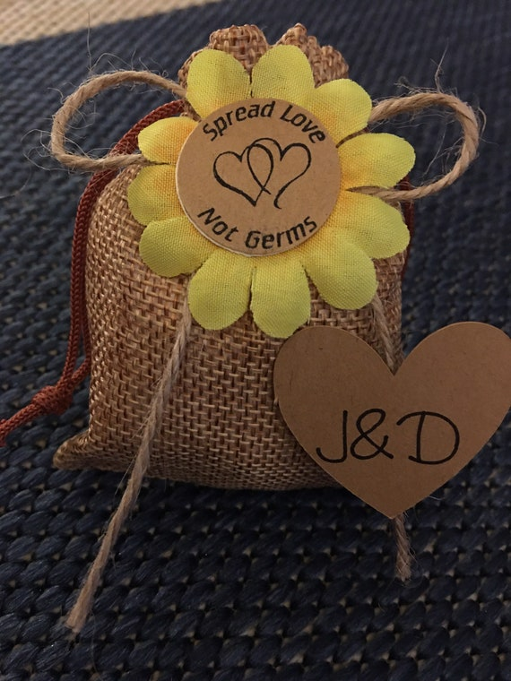 Personalized Rustic draw-string favor bag with face mask and hand sanitizer spray bottle.  Set of 25