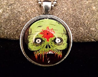 """Scary Zombie Painting Pendant with 23"""" Silver Ball Chain Necklace"""