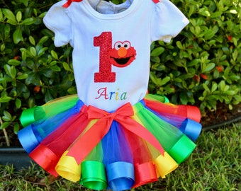 Elmo Rainbow Birthday Girl Outfit, Sparkle Age Name, Red, Green, Blue and Yellow Tulle & Satin Ribbon Edge Trim Swirl Tulle Skirt + Hair Bow
