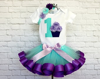 Rainbow Ribbon Trim Tulle Tutu and Headband bow Rainbow Pastel Birthday Girl Cupcake Outfit-OnesieShirt w Age Number and Cupcake Name