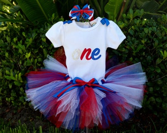 3fa5c0a6a July 4th Patriotic Firework Birthday Girl Outfit-Onesie/Shirt w/ the word  one, Red, White and Blue Fluffy Tulle Tutu Sewn + Headband