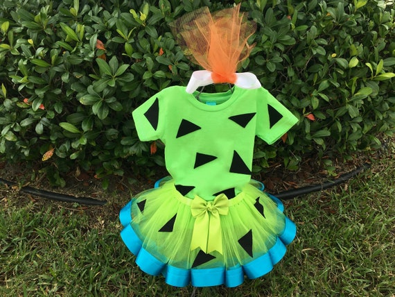 Amazing Pebbles Halloween Costume Baby Girl   Flintstones Bamm Bamm   Pebbles  Toddler Lime Green Shirt, Lime Green And Turquoise Ribbon Trim Tutu,