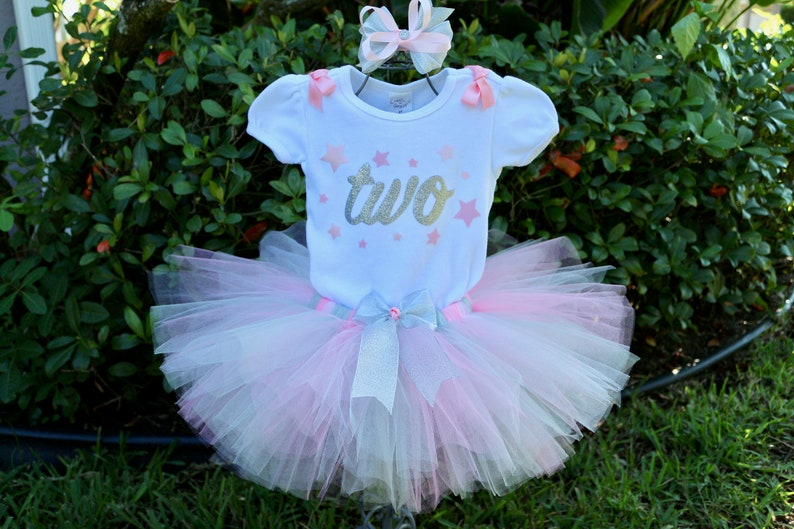 34fb129e24a0 Silver and Pink Star Birthday Girl Tutu Dress Outfit-Onesie w/ | Etsy