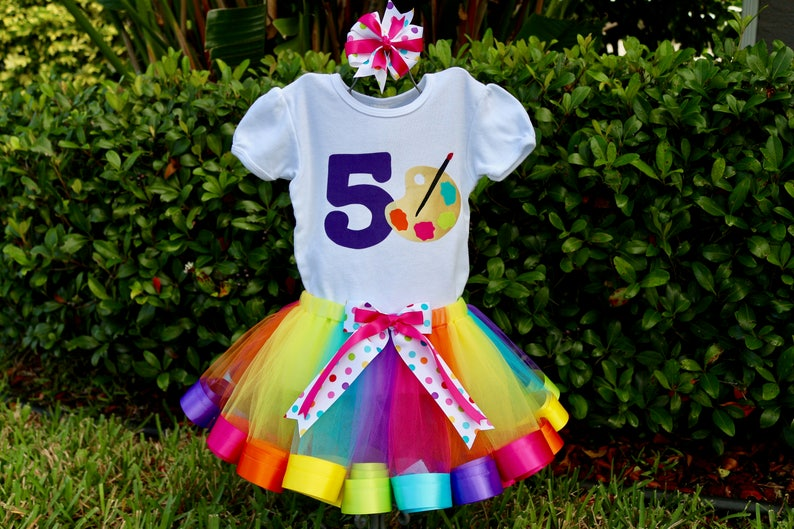 e7d2dfaac Paint Art Party Birthday Girl Outfit Shirt/Onesie with Age | Etsy