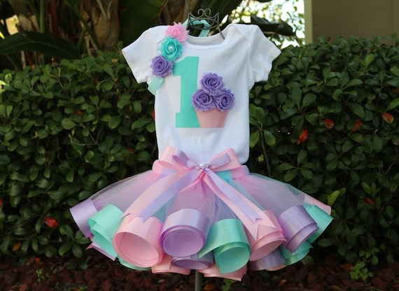 Green Chevron with Purple Cupcake and Pink Personalized Baby Girl First Birthday outfit one-sie