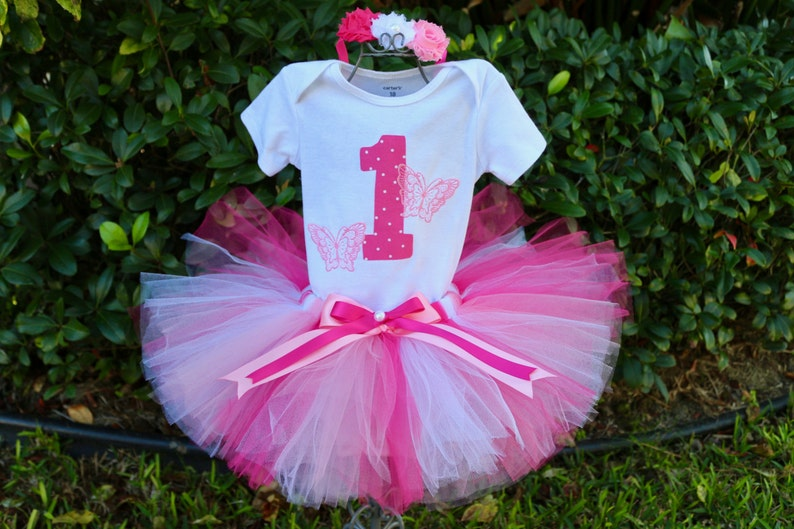 Butterfly First Birthday Girl Outfit- Hot Pink Pink and White Tutu Fluffy Tulle Sewn Skirt Flower Headband Age Embroidered Butterflies