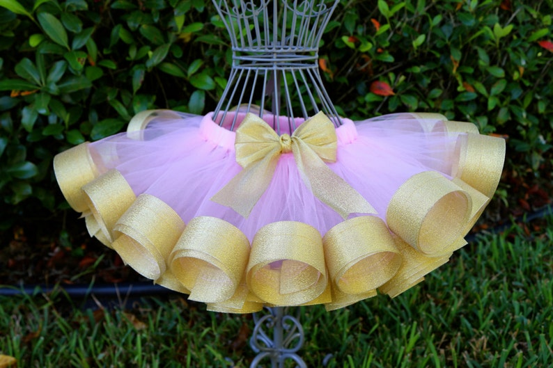 8481ccd011 Girl's Ribbon Trim Tutu Light Pink Tulle w/ Shiny   Etsy