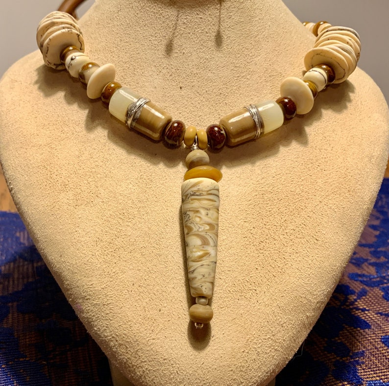 #2559 Gorgeous 21 Necklace with Artisan Handmade Glass Beads by Sheila Checkoway