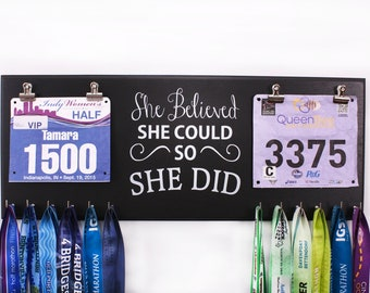 She believed she could so she did -Double race bib rack and medal display