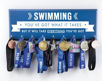 Swimming You've got what it takes but it will take Everything you've got - Medal & Ribbon Holder for swimmers - Large