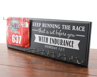 Running medal holder and race bib hanger - running medal rack race bib holder - Hebrews 12:1 - Keep running the race that is set before you