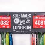 SOLE Mates in it for the Long Run - Double race bib rack and medal display - Great Gift Idea for couples that run.