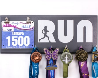 Run with Woman Silhouette - Running medal and bib Holder for women girls