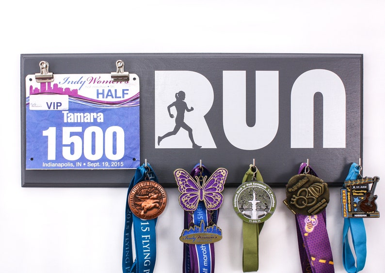 Run with Woman Silhouette  Running medal and bib Holder for image 0