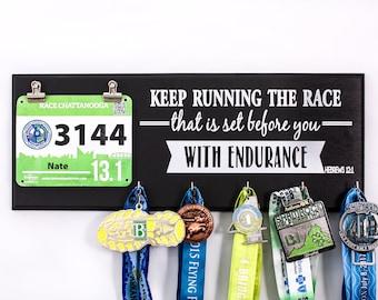 Keep Running the Race - Hebrew 12:1 Medal and Bib Holder - gift for runners - medal rack - bib rack - running medal - race medal holder
