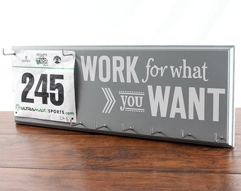 Running medal holder and race bib hanger - work for what you want