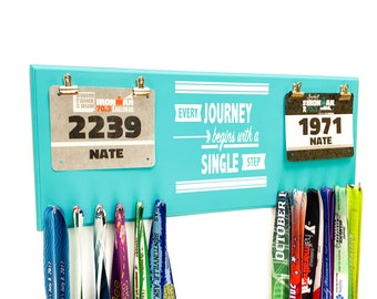 Every Journey Begins with a Single Step Double race bib rack and medal display - great wedding gift for couples that run