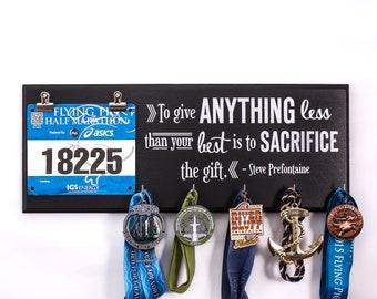 To give anything less - Steve Prefontaine - Running Medal Holder & Race Bib Hanger - medal rack bib rack - running medal holder