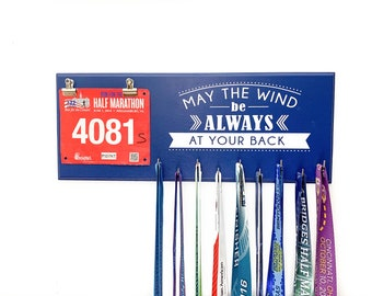 May the wind be always at your back Running medal holder and race bib hanger  - Irish Proverb