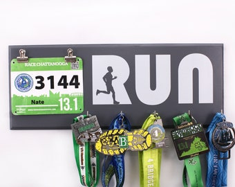 Run with Man Silhouette - Running medal and bib Holder for men - medal rack - bib rack - running medals - race medal holder