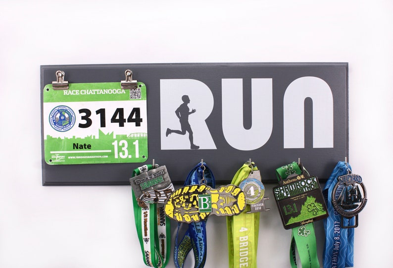 Run with Man Silhouette  Running medal and bib Holder for men image 0