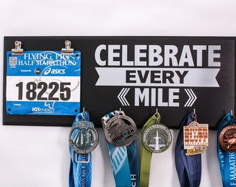 Celebrate Every Mile  - Medal and Bib Holder - medal rack - bib rack - running medals - race medals - gift for runners