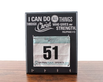 Race bib holder - holder for medals and race bibs - Philippians 4 13