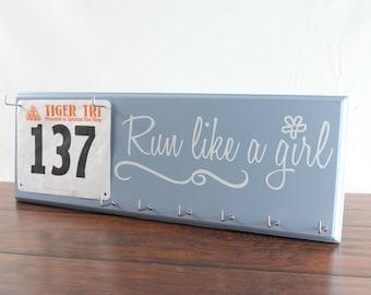 Running medal holder and race bibs hanger - run like a girl
