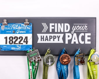 Find Your Happy Pace - Medal and Bib Holder -medal holders - race medals - bib rack - running medals -  gift for runners