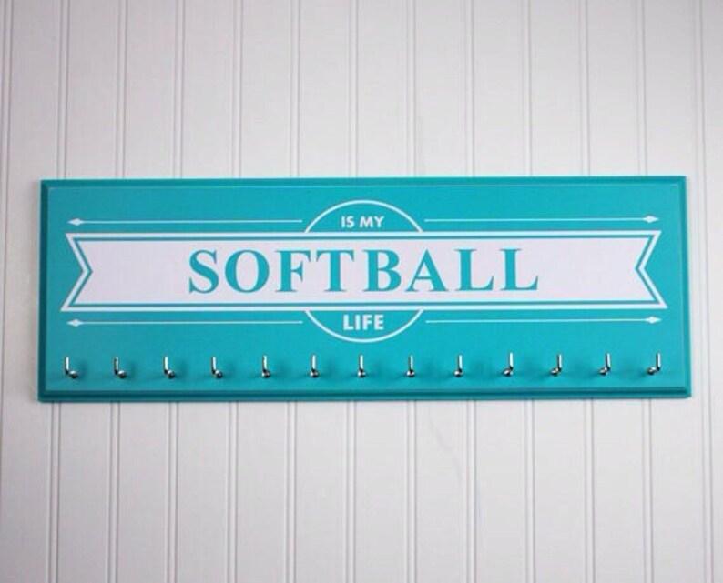 Softball is my life  medal holder rack display Softball image 0