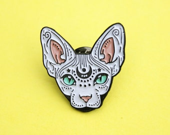Mystical Sphynx cat enamel pin - WHITE - hairless cat - cat pin - cat gift - magical cat - mystic cat - pin badge - flair - lapel pin