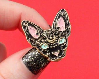 Mystical Sphynx cat enamel pin - BLACK & GOLD - hairless cat - cat pin - cat gift - magical cat - mystic cat - pin badge - flair - lapel pin