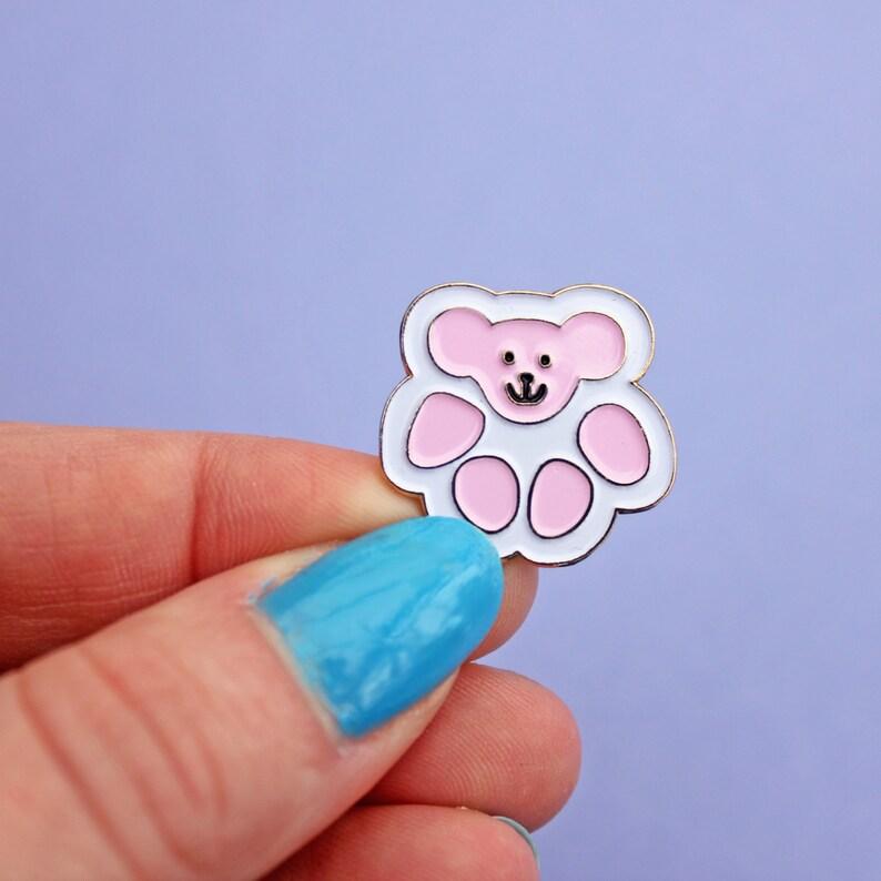 Teddy Bear Cat Paw Enamel Pin Pink White Cat Pin Toe Etsy