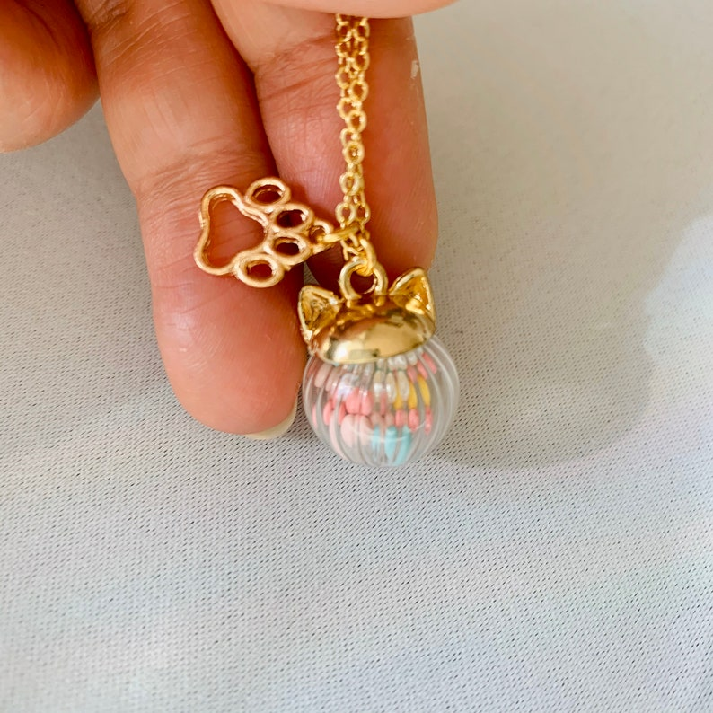 Glass dome Cat & Bunny ear necklace image 0