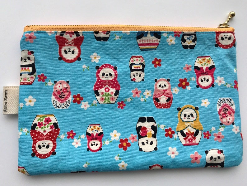 Flat zipper pouch with pocket Panda Bear image 0