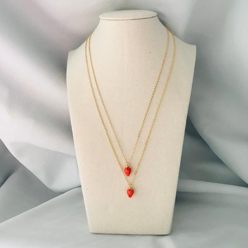Tiny Strawberry Necklace image 0