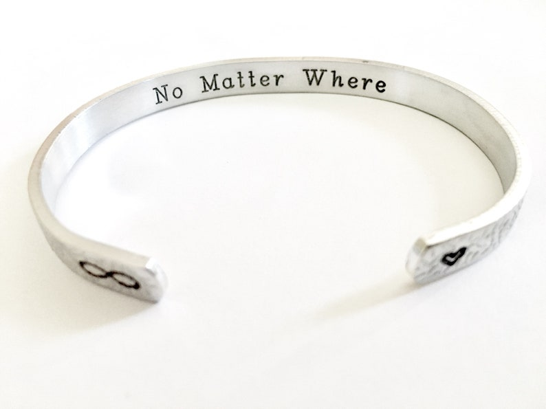Stocking Stuffer MotherDaughterSisterFriend Gift- No Matter Where Bracelet Made by TheSilverSwing Christmas Gift